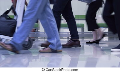 foot traffic of travellers at domestic airport in Asia, ...
