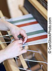 Foot-treadle floor loom with threads.
