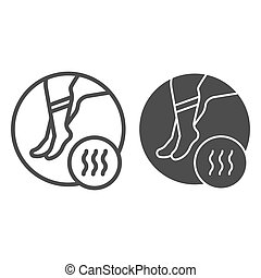 Foot with bad odor line and glyph icon. Smelly socks vector illustration isolated on white. Stinky feet outline style design, designed for web and app. Eps 10.