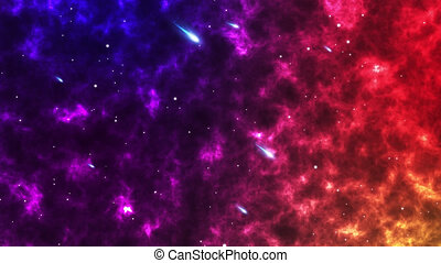 Footage 4K of Traveling through star fields in space as a supernova colorful light glowing.Space Nebula blue background moving motion graphic with stars space rotation nebula (Video galaxy).