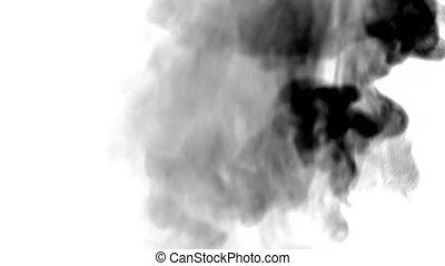 Footage black smoke on white background.