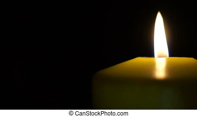 footage burning candle isolated on black. Video hd