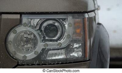 footage dip-light the car close up. 4k