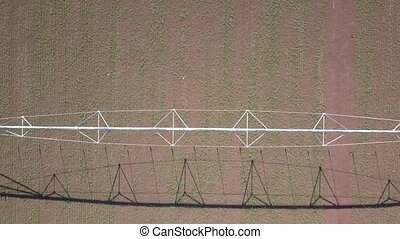 footage., field., bourdon, irrigation, sur, tuyau, agricole