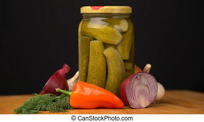 Footage glass jars with salted vegetables for the winter...