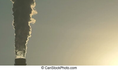 Footage industrial chimneys emits toxic pollutants into the...
