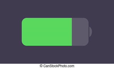 footage modern battery icon. Animation with alpha channel. 4K video