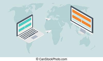 footage modern flat isometric email marketing background.