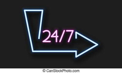 footage modern neon sign on dark background. frame banner. 4K animation