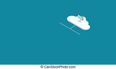 footage motion isometric cloud servise background.