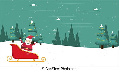 Footage of a Christmas wonderland scene with Santa Claus sleigh
