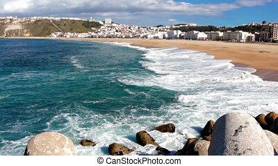 Footage of beatiful ocean coastline at sunny day
