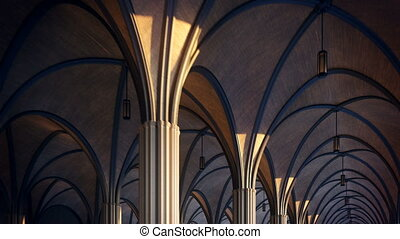 Footage of beautiful gothic ceiling - Loopable animation....