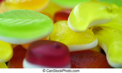 Footage of bright tasty colourful marmalade jelly candies...