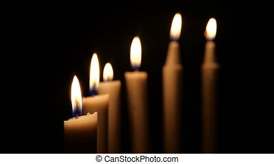 Footage of burning white candle. Merry Christmas collection
