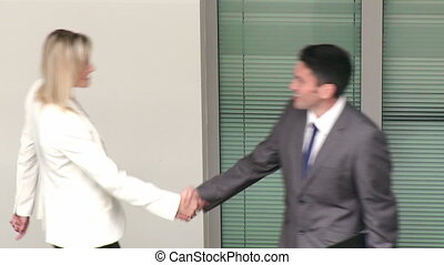 Footage of business people speaking in a building in high definition