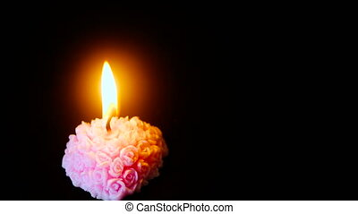 Footage of candle burning for decoration Valentine day...