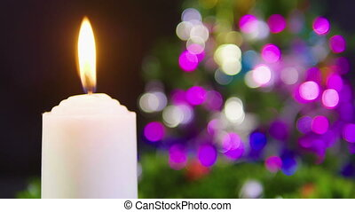 Footage of decoration chritsmas with candle burning, gift...