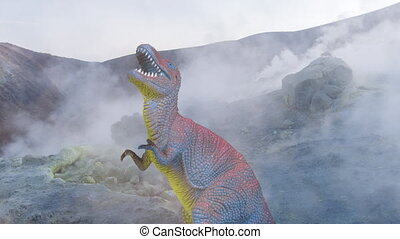 Footage of dinosaur in volcanic landscape - Stop motion of ...