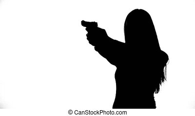 Footage of girl with gun - Footage of woman's isolated...