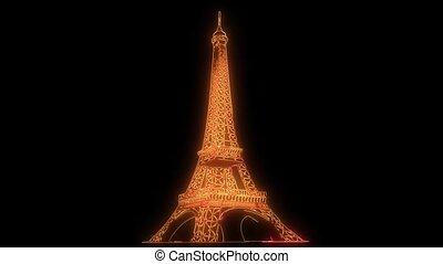 footage of illuminated Eiffel Tower at Paris, France at...