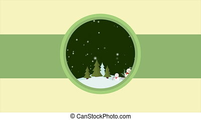 Footage of Merry Christmas with snowman landscape