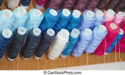Footage of multicolored cotton threads in workshop - Video ...