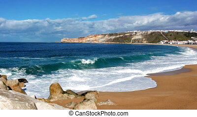 Footage of ocean waves on coastline at sunny summer day -...