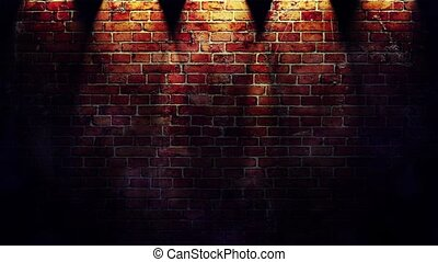 ed brick wall with spotlights - Footage of red brick wall...