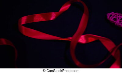 Footage of ribbon and decoration heart. Valentine day...