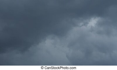 CLOUD puffy rainy black thunderstorm dramatic. Abstract cloud background. Realistic skyscape before rain. Threatening clouds. Storm HUGE flooding. Global warming effect. No birds. Time lapse
