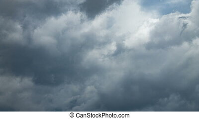 Footage of storm clouds on blue sky