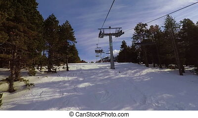 Footage of the ski lift in the Pyrenees in Spain, Masella