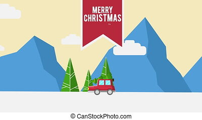 Footage of truck bring tree Christmas collection
