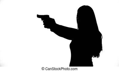 Footage of woman with gun - Footage of woman's isolated...