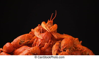 Footage red boiled crawfish closeup rotate on a tray. 4k...