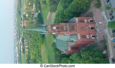 footage., rouges, pastures., église, bourdon, romain, church...