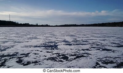 footage., vol, hiver, surgelé, sur, bourdon, 4k, en avant!, pendant, aérien, rivière, sunset.