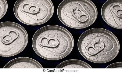 footage water droplets on can of soda or beer rotate...