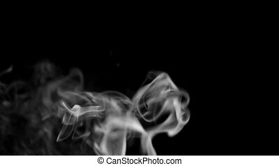 Footage white smoke on black background.