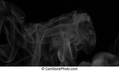Footage white smoke on black background. HD video - Footage...