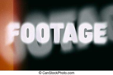 Footage word on vintage blurred background