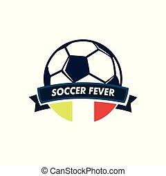 footbal, balle, emblème, club, fièvre, football, ruban