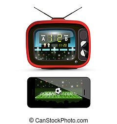 footbal, bola, estádio, streaming, television., -, screen., dispositivos, isolado, experiência., vetorial, desporto, retro, tv., branca, futebol, smartphone, partida