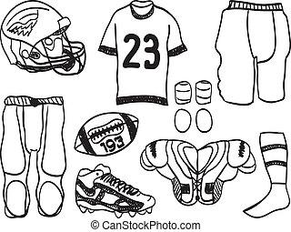 footbal, -, hand-drawn, イラスト, 装置, アメリカ人