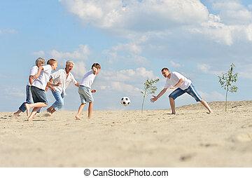 footbal, jouer, famille