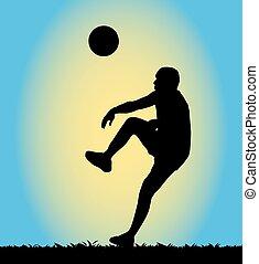 footbal, silueta, tocando, homem