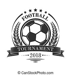 Footbal tournament logotype or emblem in retro style with stars, ribbon and laurel wreath. Editable sport vector design isolated on a white background.