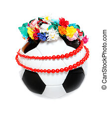Footbal with a Polish garland and necklace