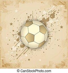 (football), グランジ, 型, ペーパー, 背景, サッカー, ball.